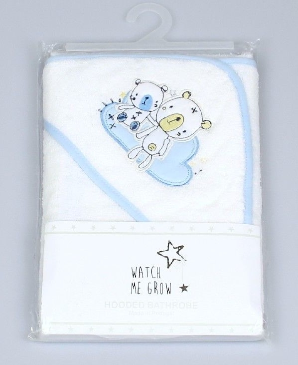Baby Hooded Robe, 2 Bears On Cloud Embroidery