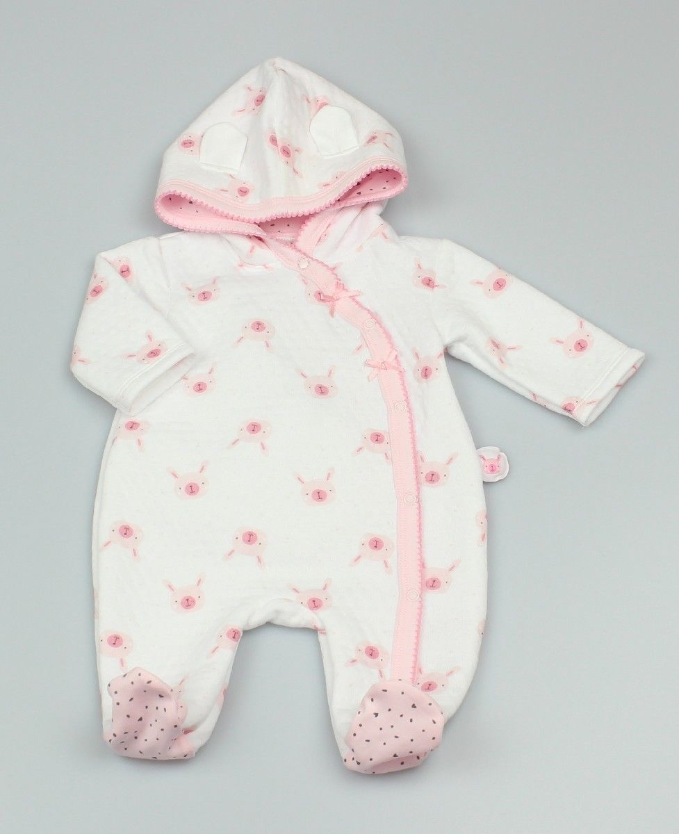 Baby Supersoft Quilted Romper With Hood