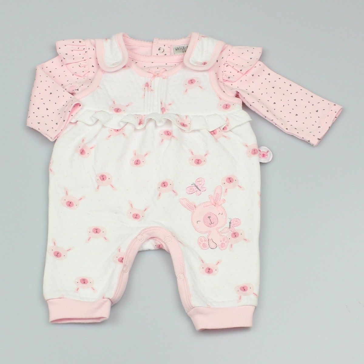 2pc Set - Baby Supersoft Dungaree With Cotton Long Sleeve T-shirt