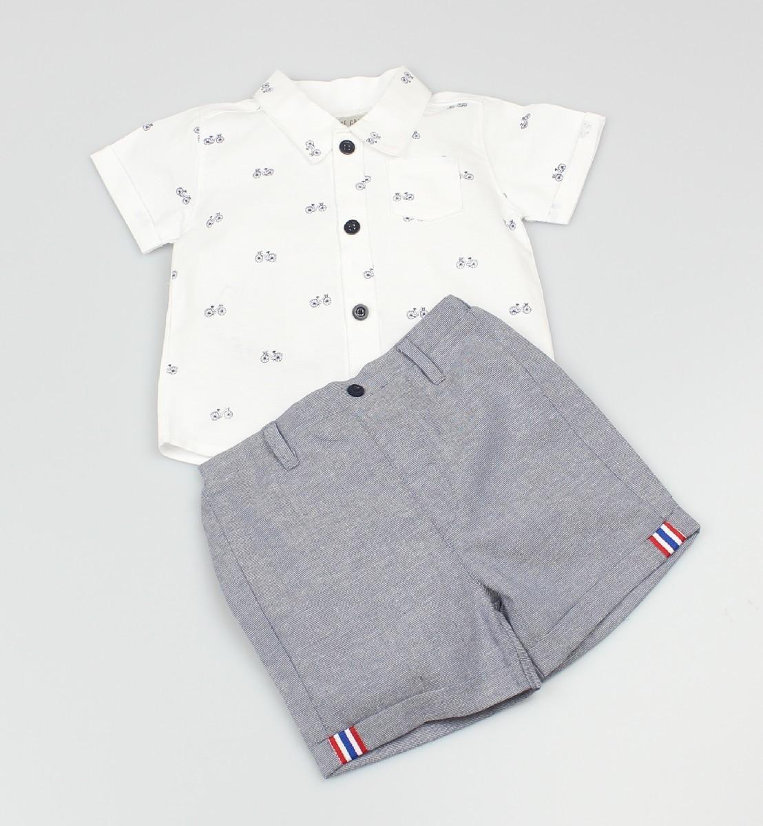 Boys Classic Oxford Collared Shirt+Short