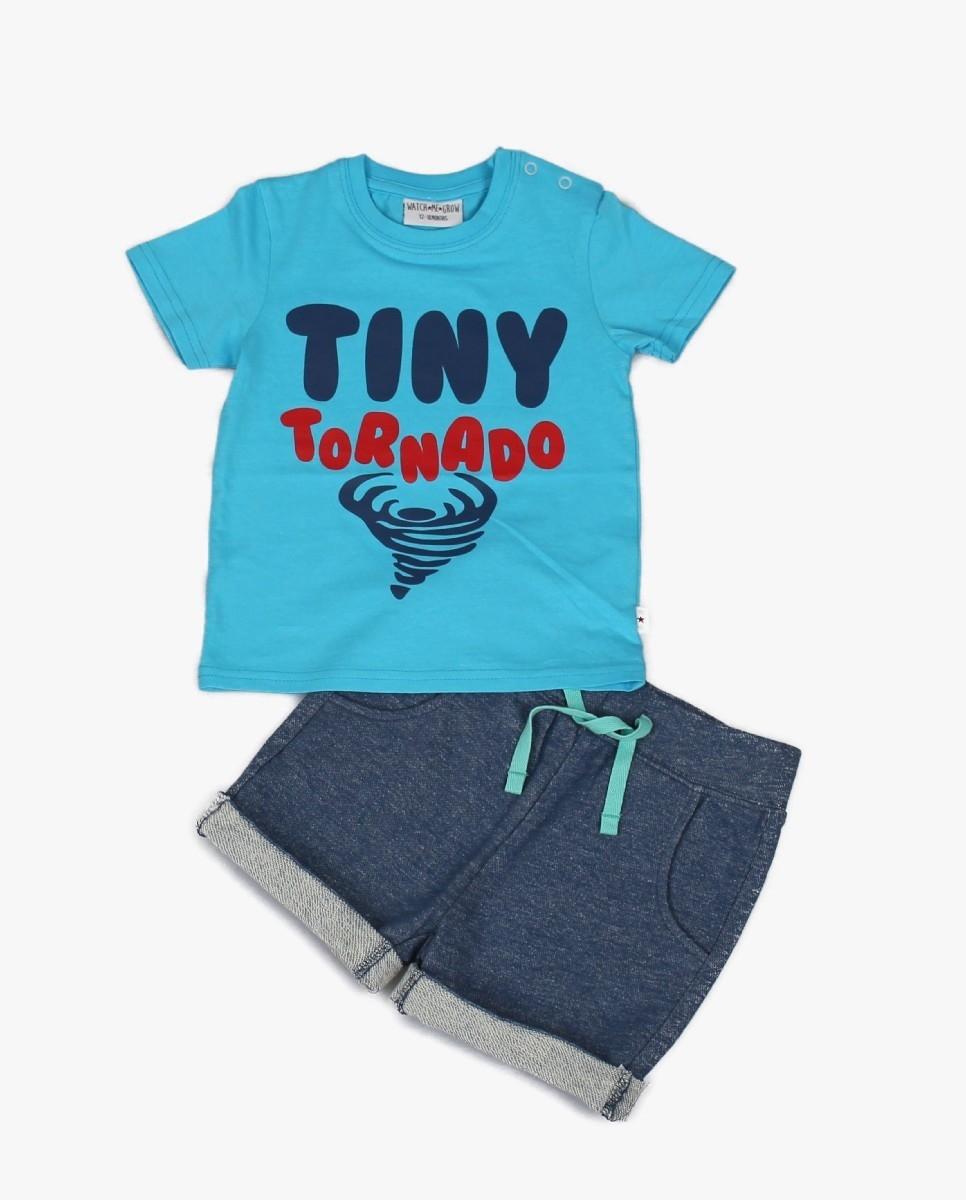 2pc Boys Cotton T-shirt & Knit Denim Look Shorts