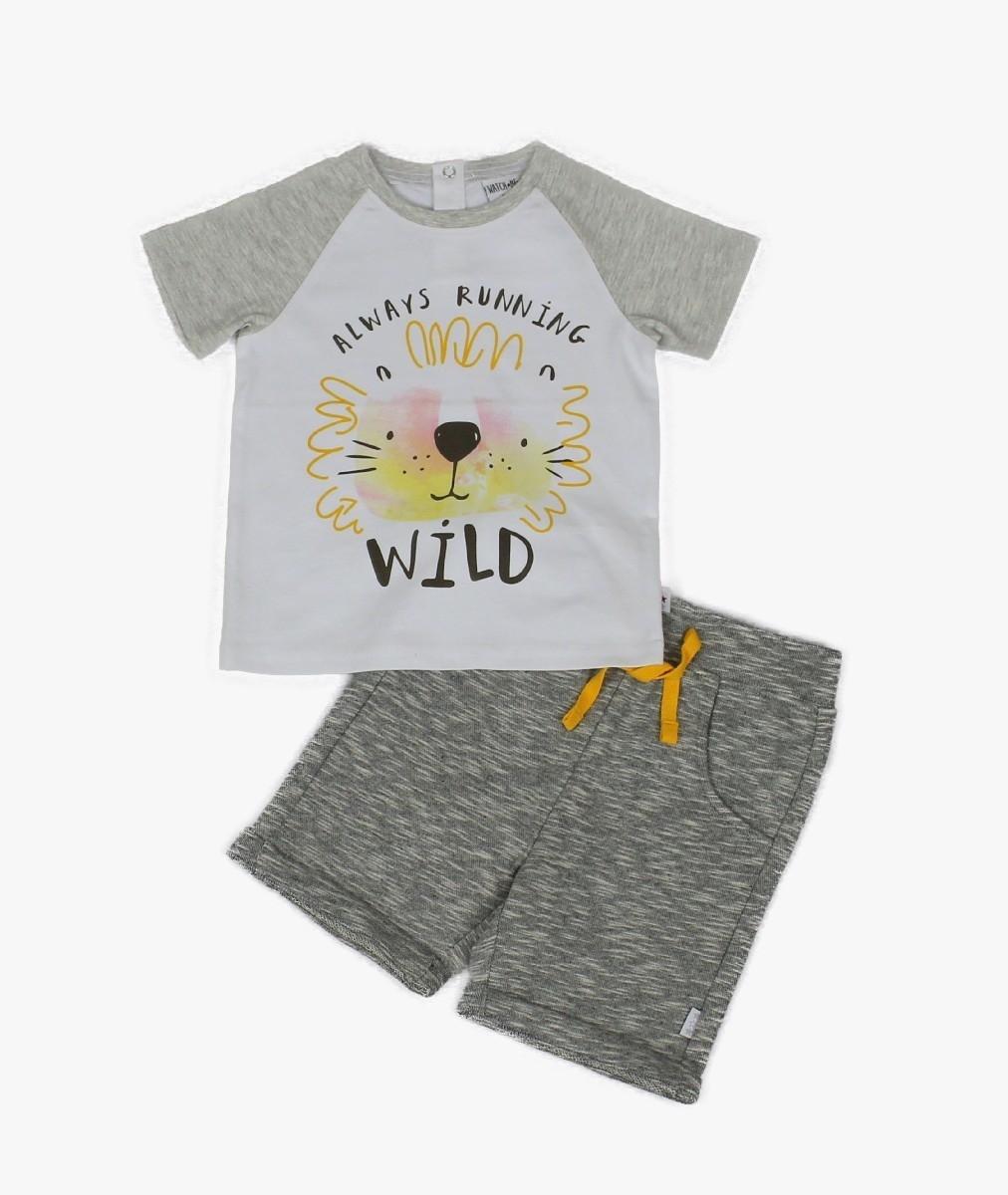 2pc Boys Cotton T-shirt & Knit Space Dye Shorts