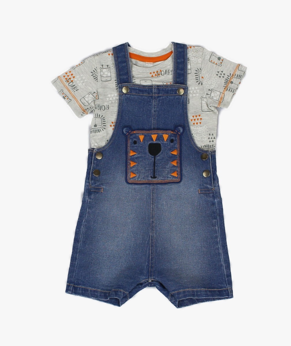 Boys Knit Denim Comfort Short Dungaree