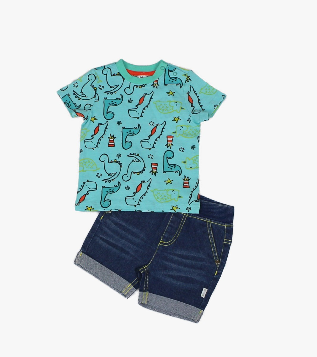 Denim Shorts + T-shirt, Dino