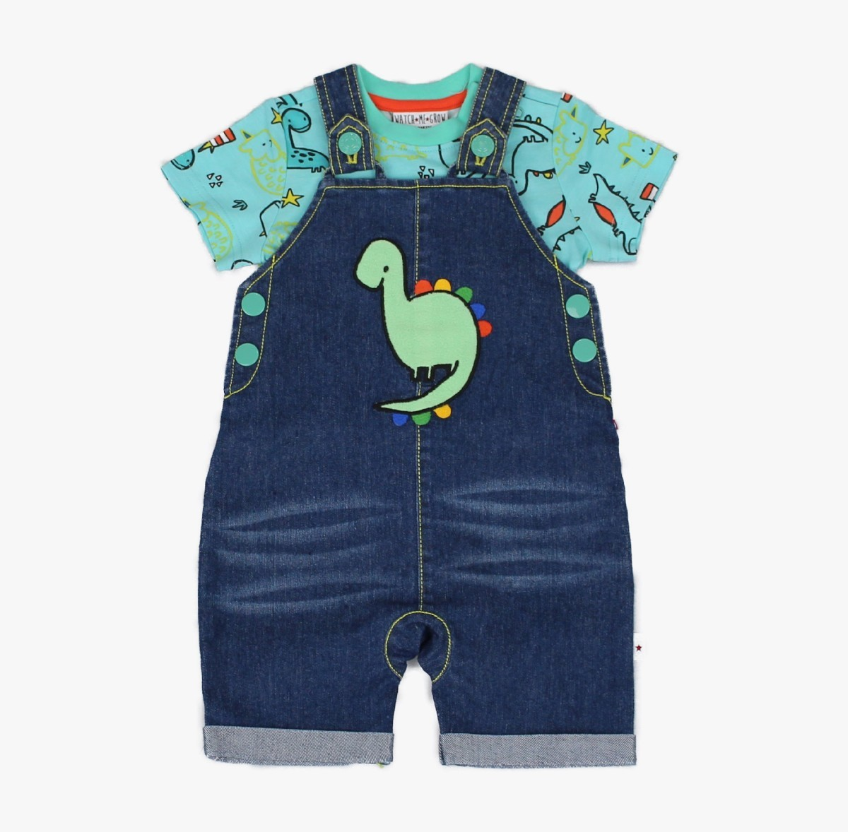 Denim Dungaree + T-shirt, Dino