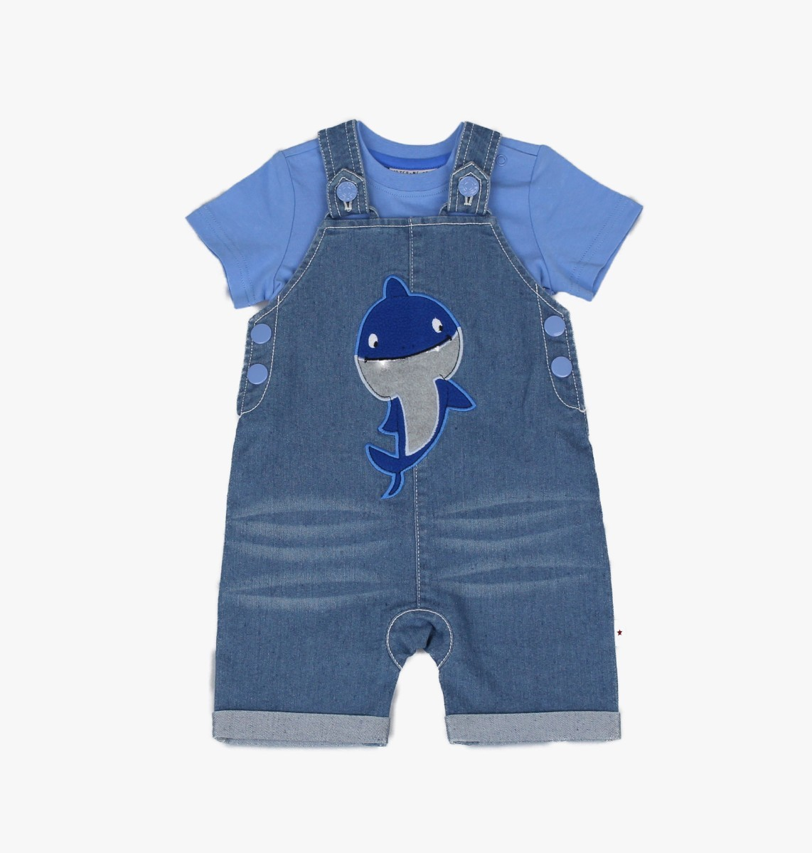 Denim Dungaree + T-shirt, Shark