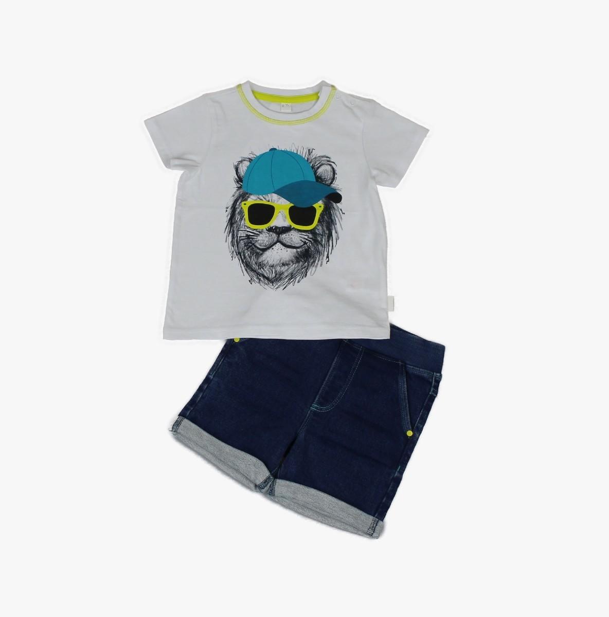 Denim Short + T-shirt, Lion