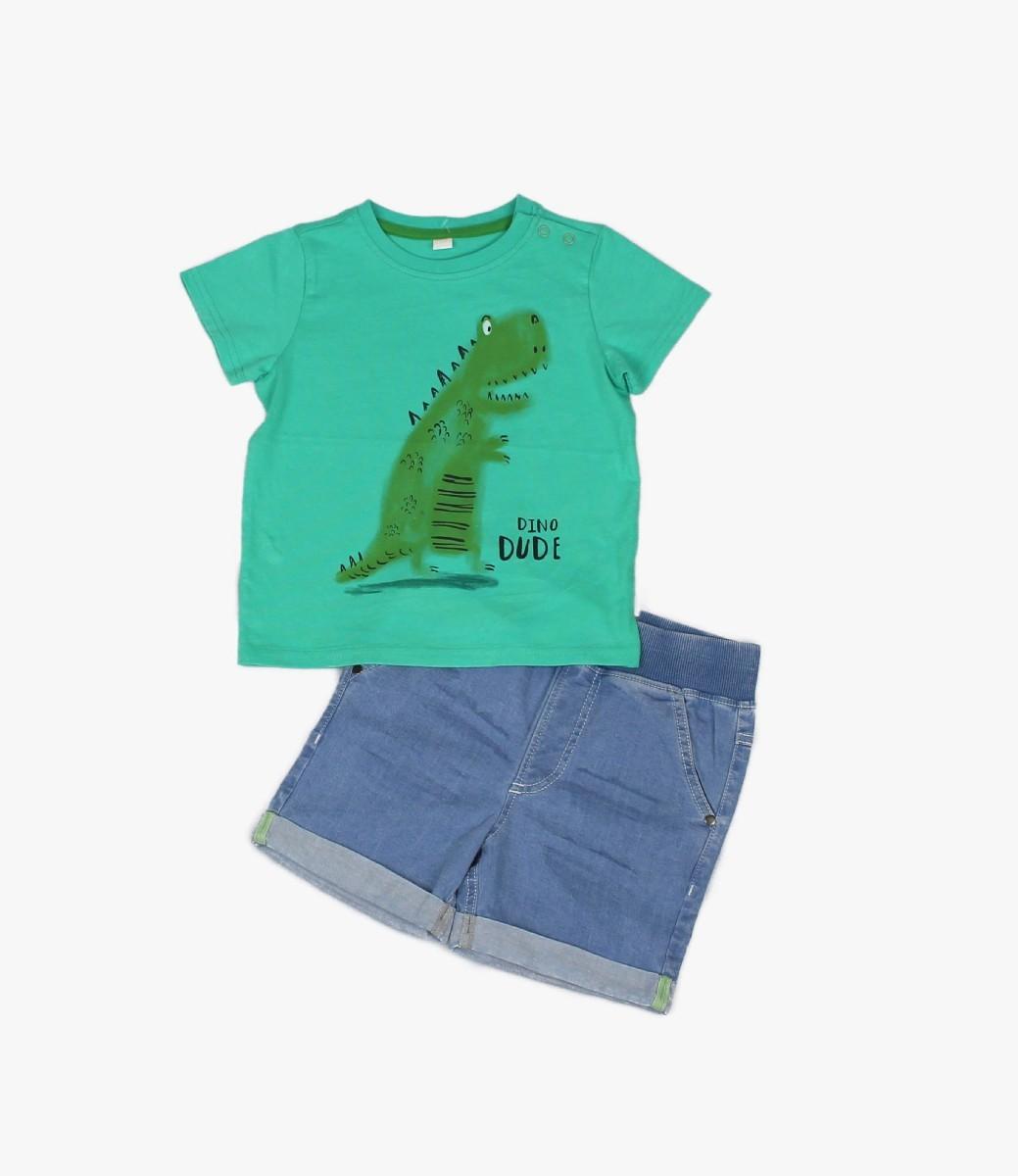 Denim Short + T-shirt Dino Dude