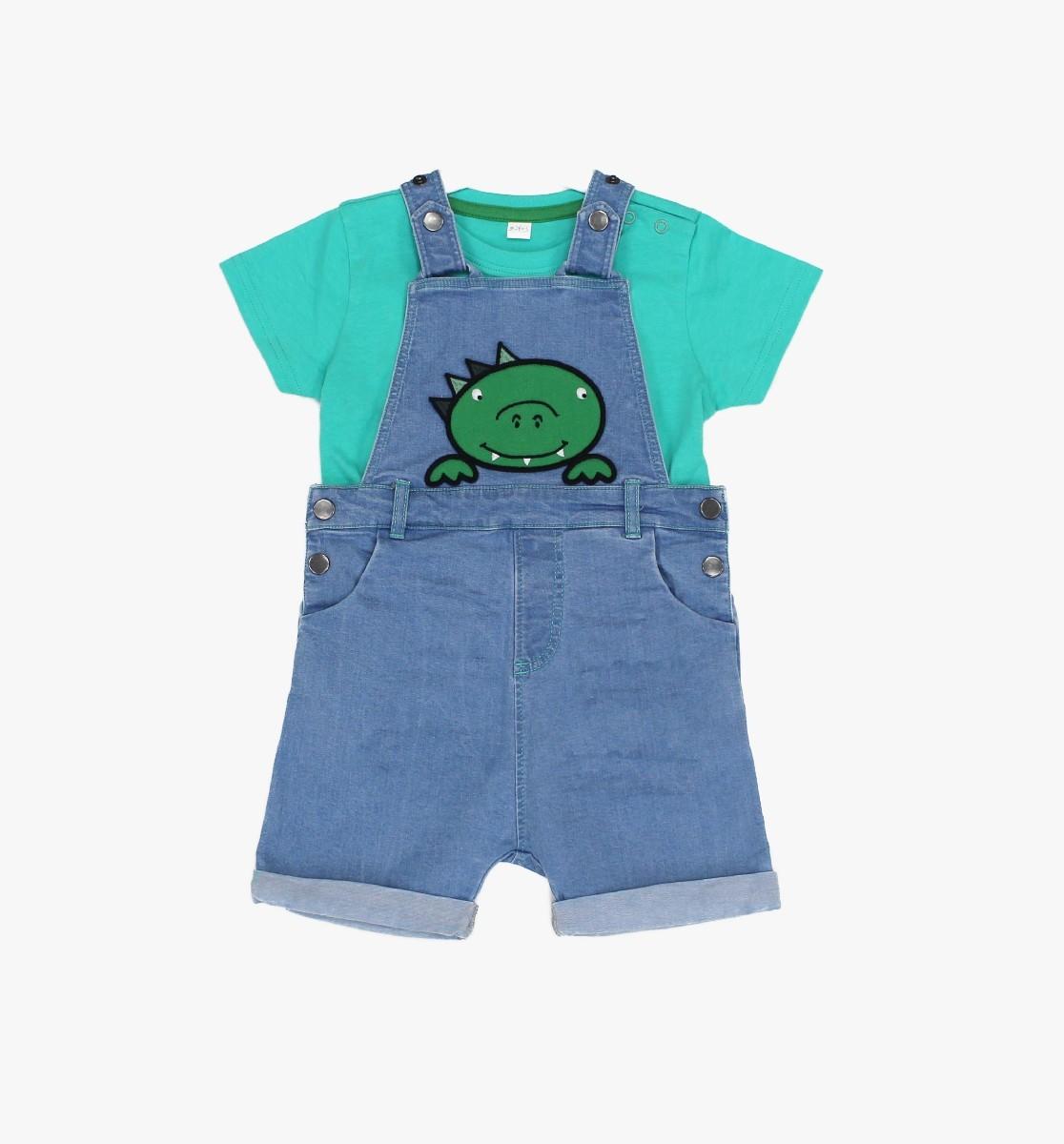 Denim Dungaree + T-shirt Dino Dude