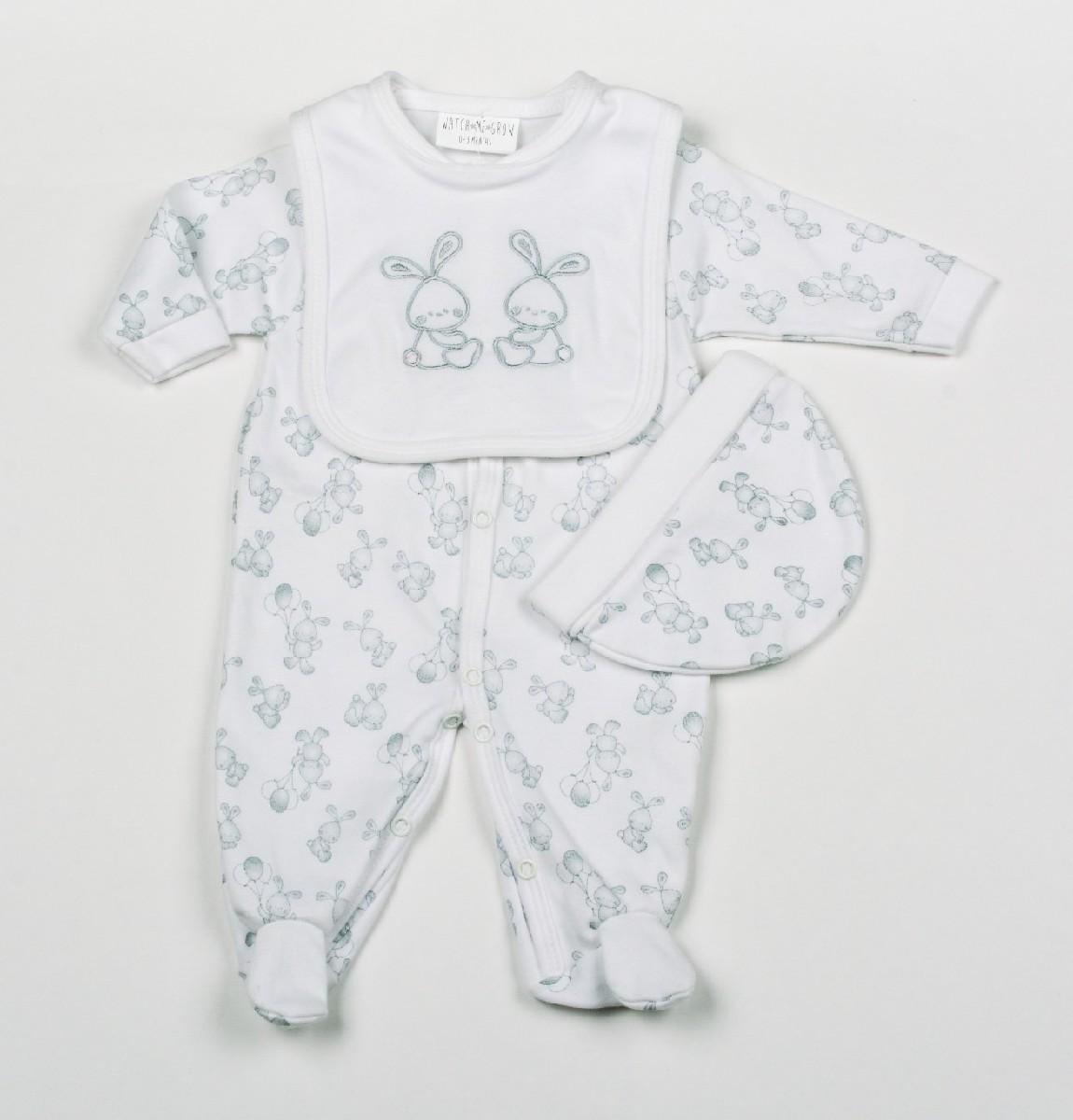 Baby 3pc Layette Gift Set - Sleepsuit, Bib And Cap