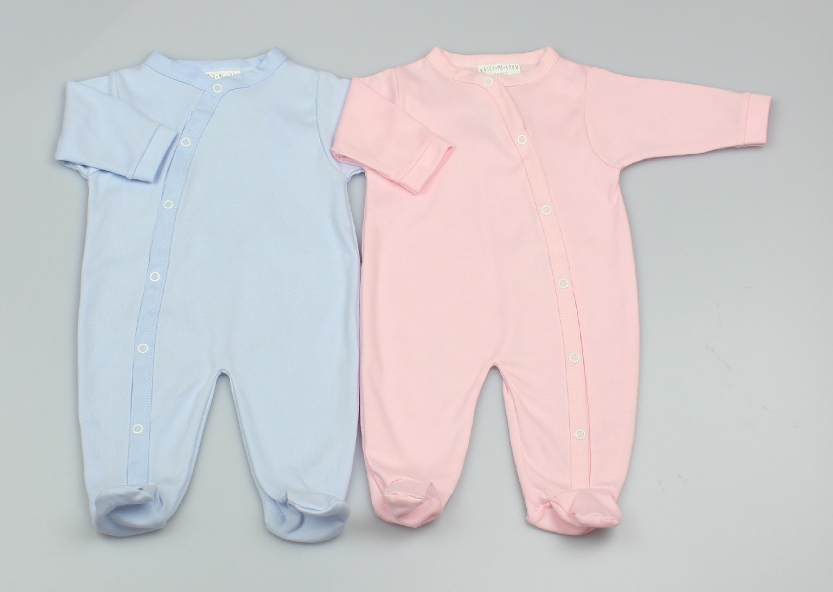 Cotton Sleepsuit Plain Pink/blue