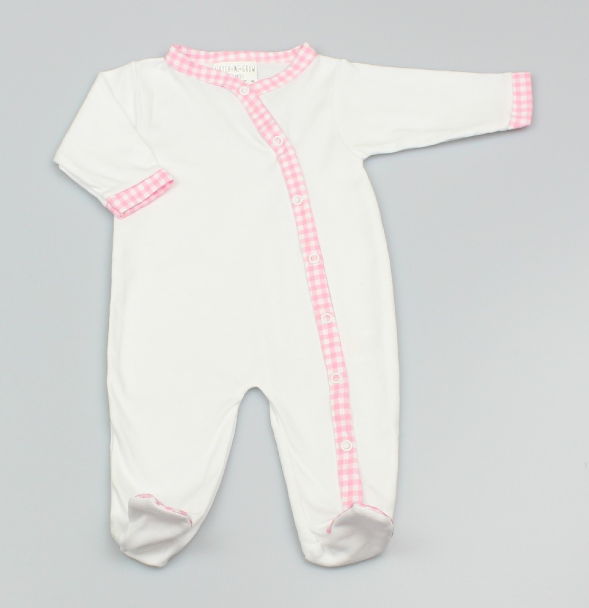 Baby Cotton Sleepsuit - White/Pink