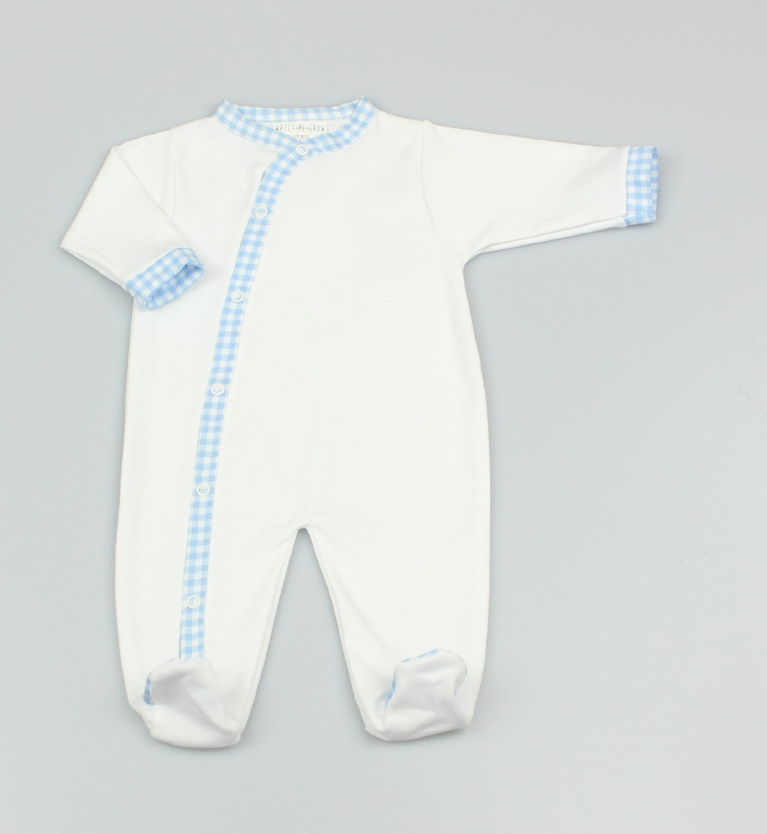 Baby Cotton Sleepsuit - White/Blue