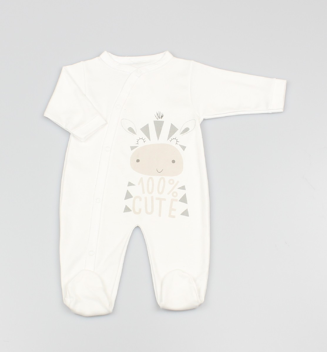 Cotton Sleepsuit Zebra White