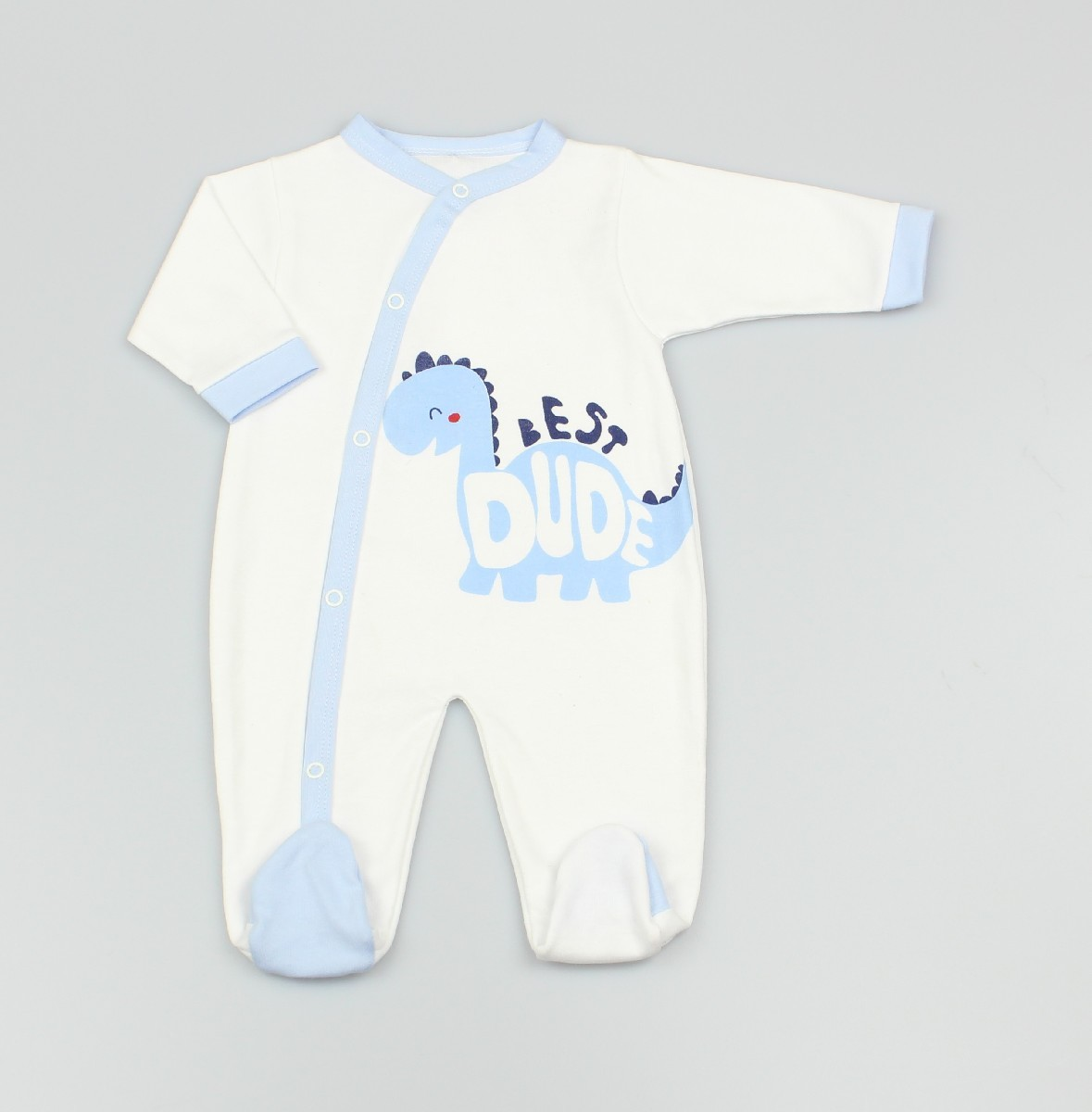 Cotton Sleepsuit Dino White/Blue