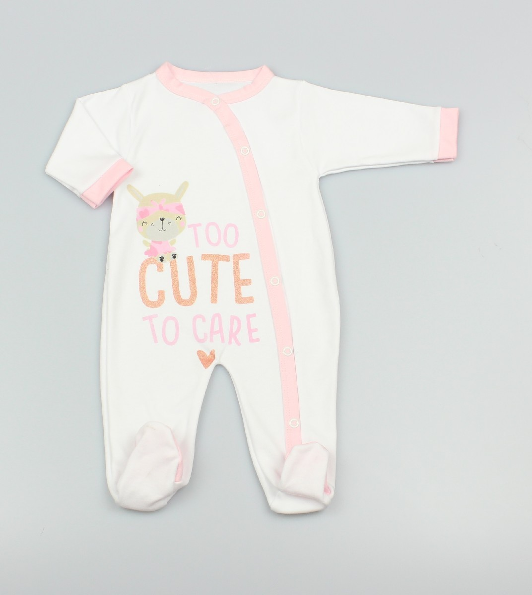 Cotton Sleepsuit Too Cute White/Pink