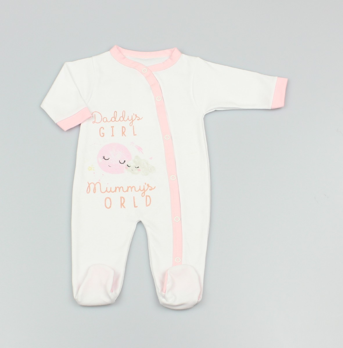 Cotton Sleepsuit Daddy's Girl Pink