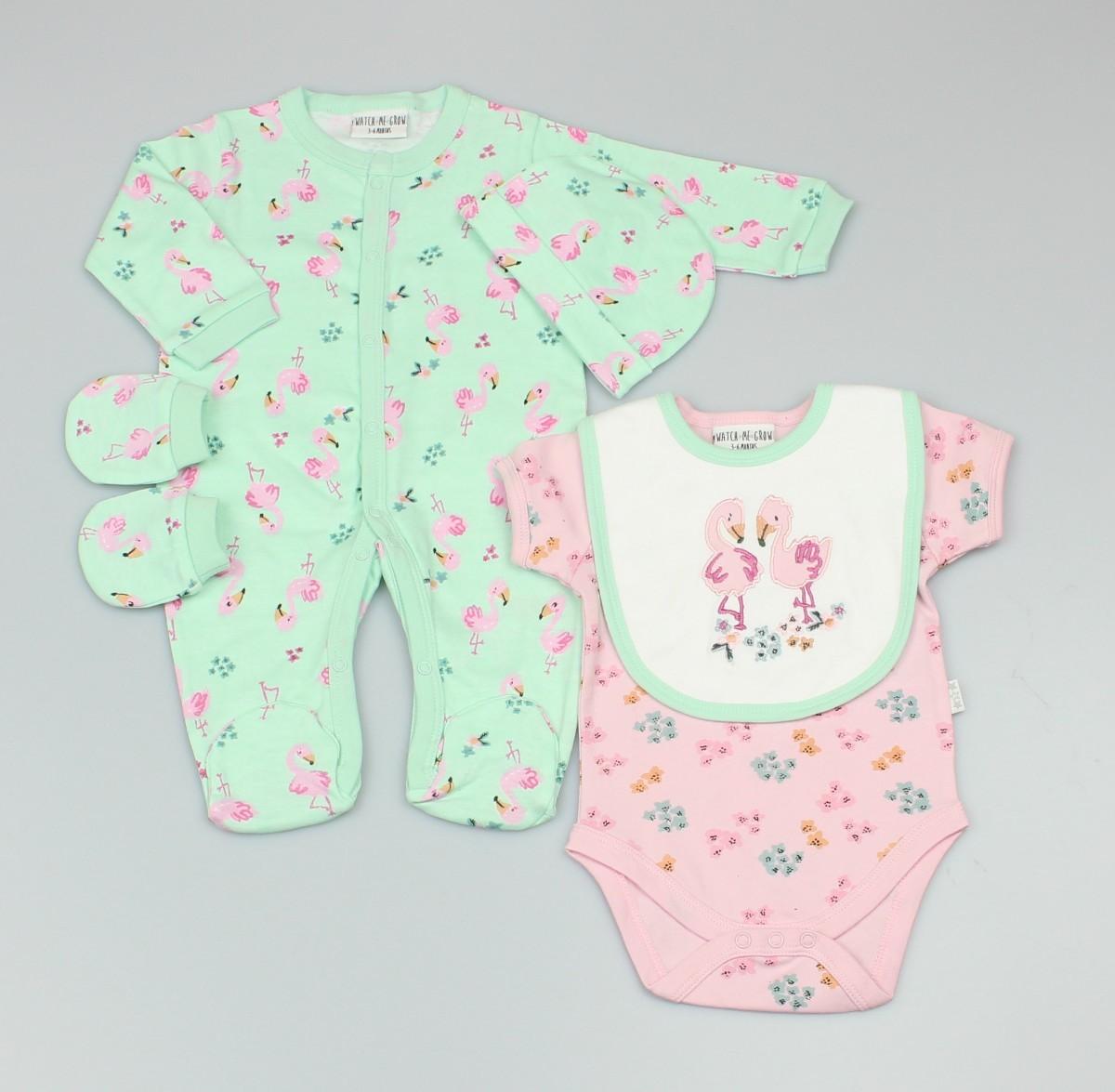 Baby 5pc Layette Gift Set - Sleepsuit, Bodysuit, Bib, Cap And Mitts