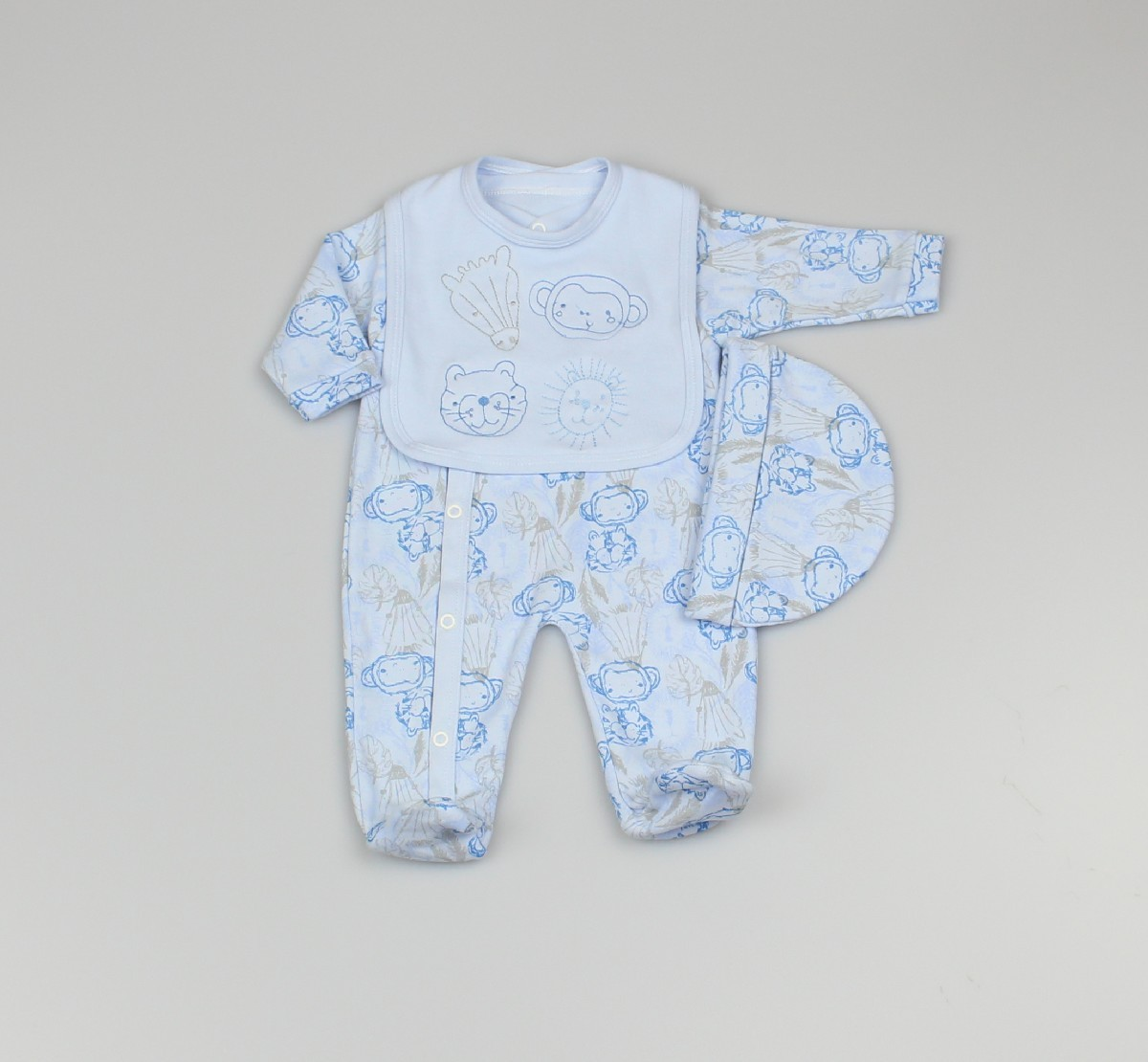 Baby 3pc Layette Gift Set - Sleepsuit, Bib And Cap