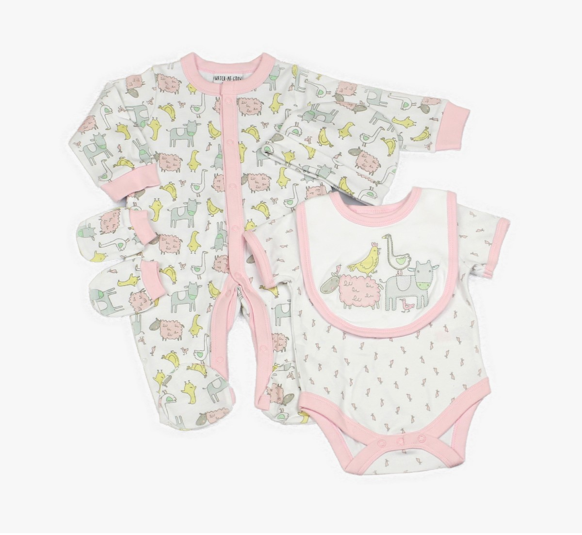 Baby 5pc Layette Gift Set - Sleepsuit, Bodysuit, Bib, Cap And Mitts