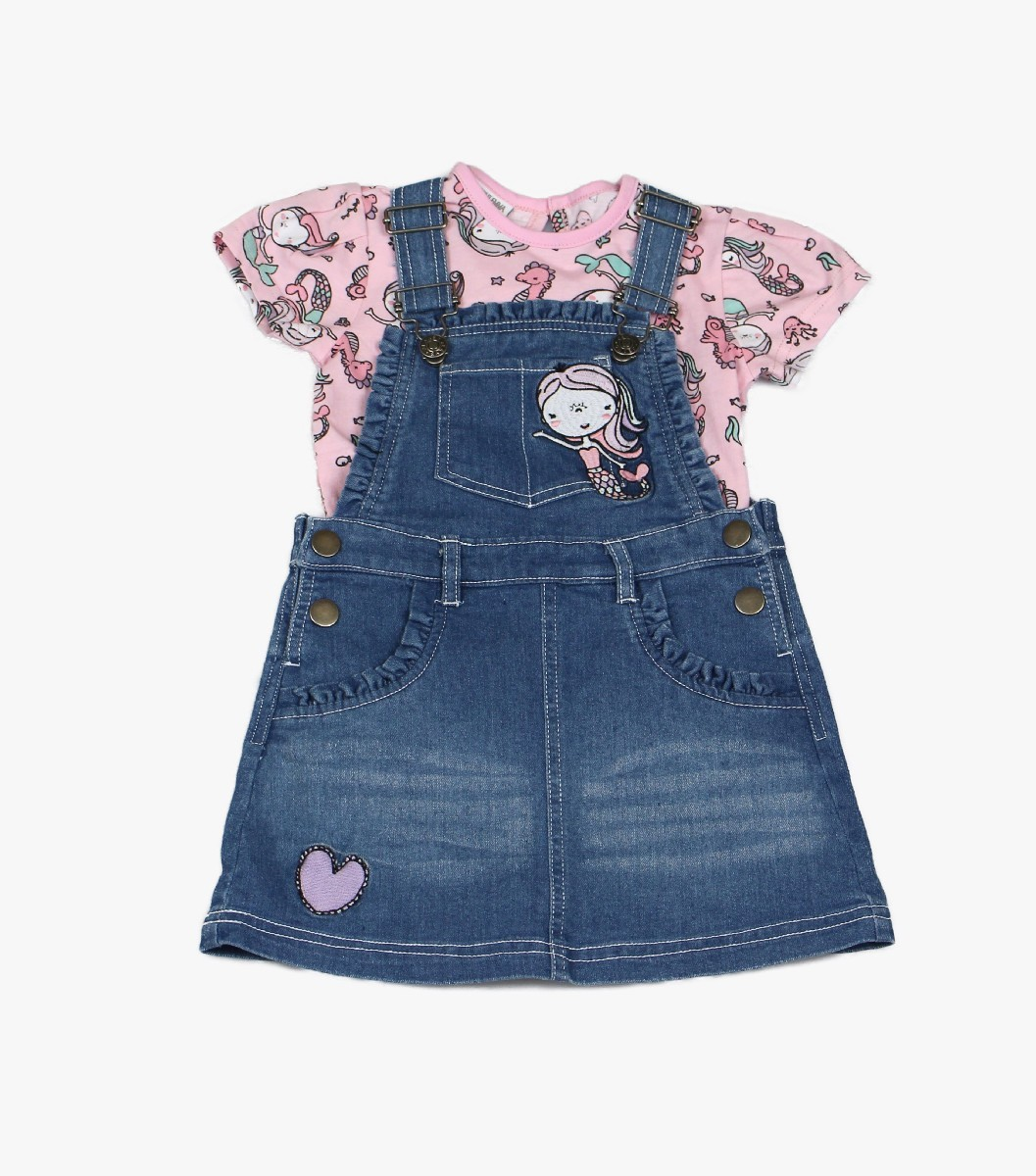 Girls Denim Dungaree + T-shirt Mermaid