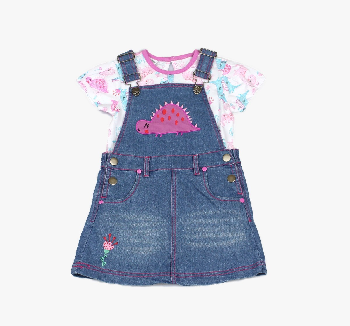 Girls Denim Pinafore + T-shirt Dino