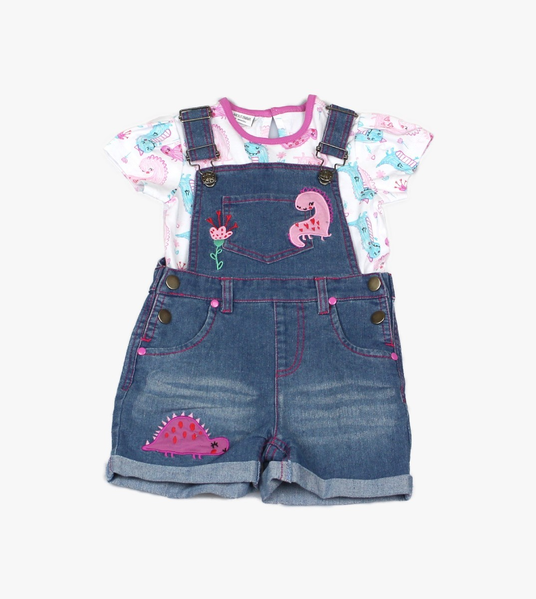 Girls Denim Dungaree + T-shirt Dino