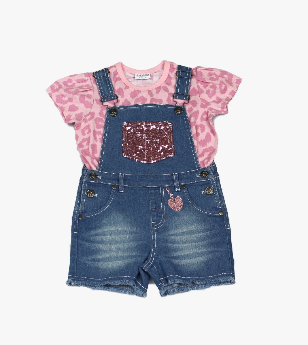 Girls Dungaree + T-shirt Sequin
