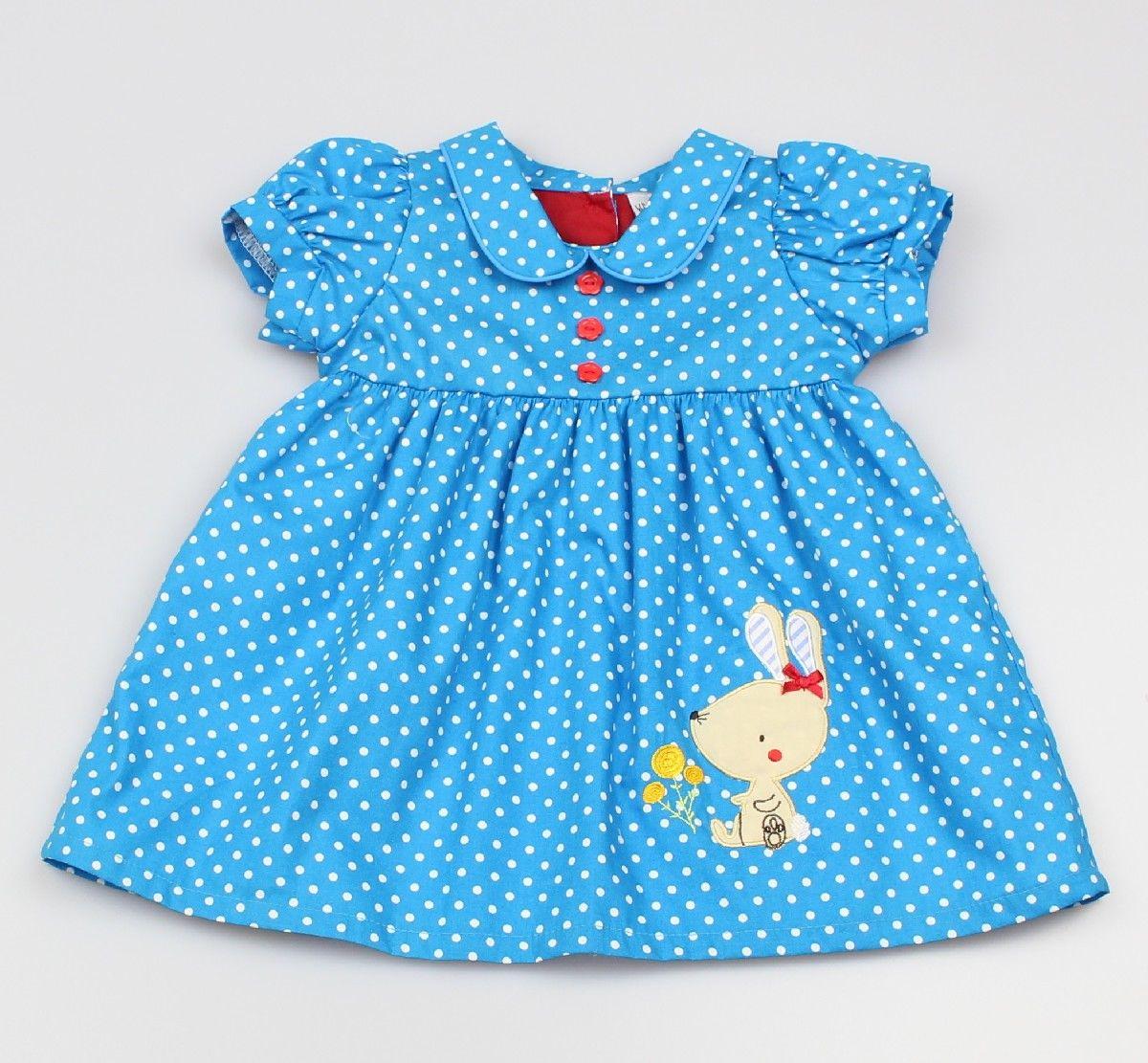 AOP Dress Lined Bright Blue/Polka Dots
