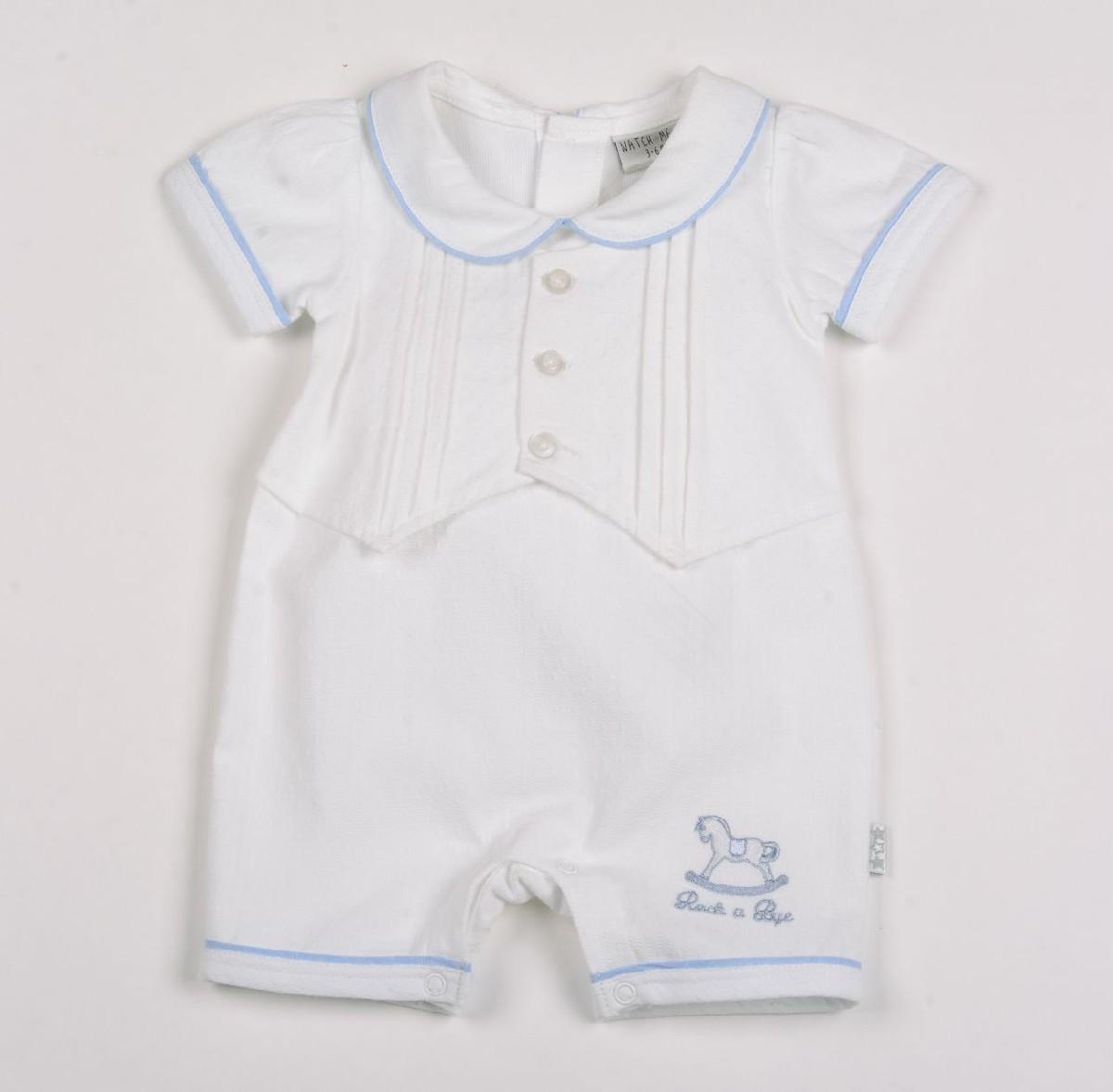Baby Boy's White Dobby Romper